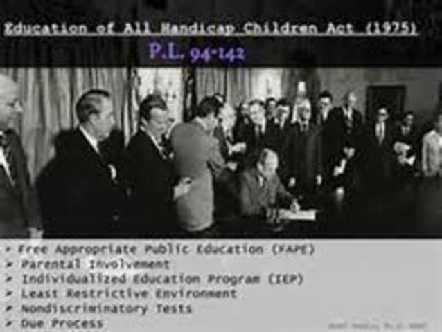 Education of all Handicapped Students Act of 1975 Public Law [P.L.] 94-142 / Individuals with Disabilities Education Act (IDEA).