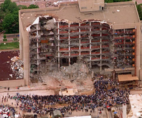 Oklahoma City Federal Building is bombed in a terrorist attack.