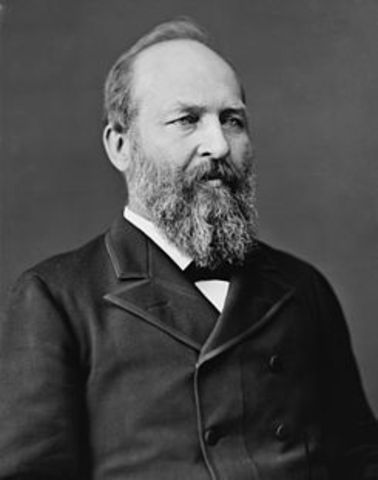James Garfield elected as 20th President of the U.S.