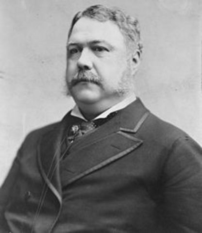 Chester Arthur takes over the Presidency.