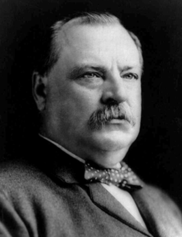 Grover Cleveland elected as 22nd President.
