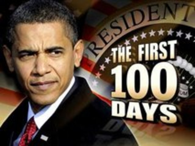 President Barack Obama marks 100 days in office