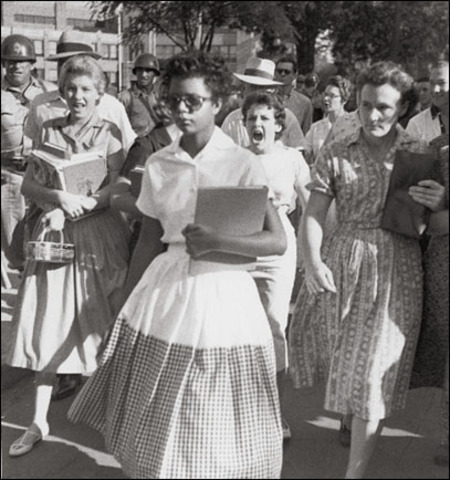 Little Rock Nine successfully enter Central High School in Little Rock, Arkansas