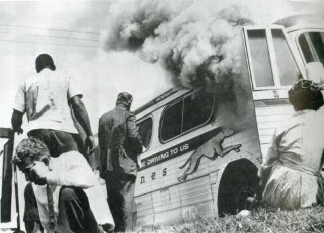 Freedom Riders' bus is bombed in Alabama