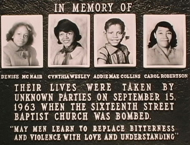 Four girls are killed when the Sixteenth Street Baptist Church is bombed in Birmingham, Alabama