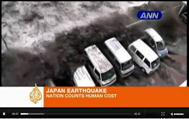 The moment the tsunami hit Japan