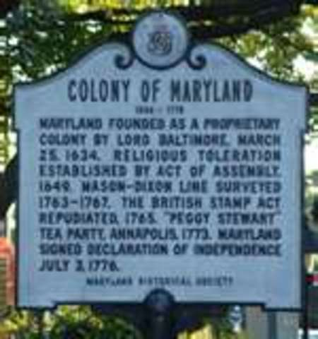 Maryland is founded