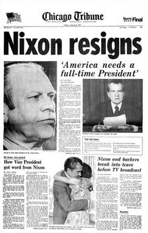 Richard Nixon becomes the first U.S. President to resign