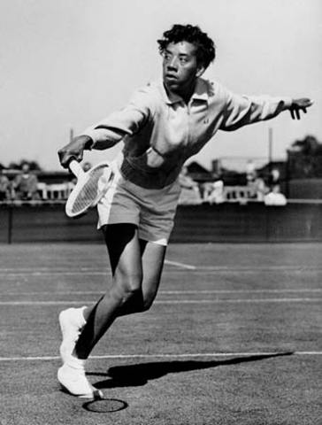Althea Gibson competes in national tennis tournament.