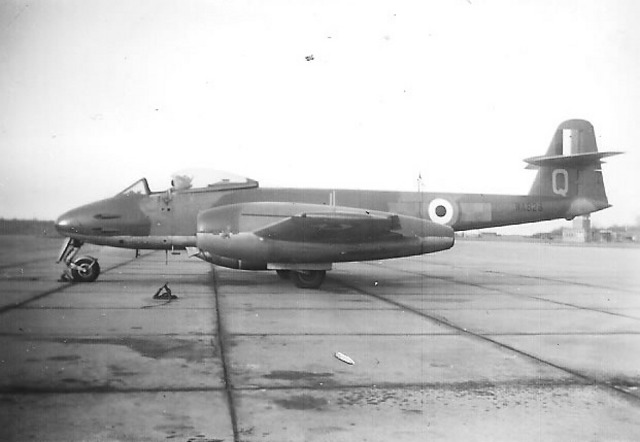 257 Sqn arrive flying Meteor F.8's from Horsham St. Faith