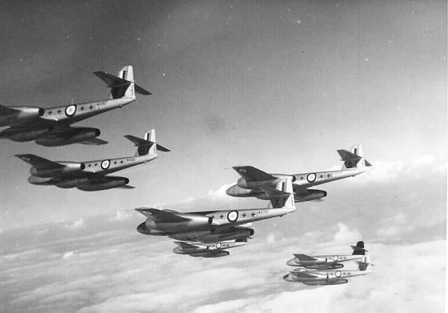 263 Sqn arrive flying Meteor F.8's
