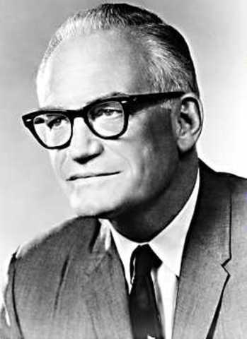 Barry Goldwater runs on a conservative platform and loses to LBJ in a landslide.