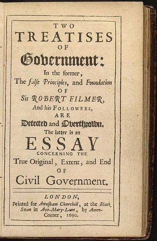 the law of nature in two treatises of government a book by john locke As one of the early enlightenment philosophers in england, john locke sought  to bring  the second treatise on civil government by john locke  part of  great books in philosophy  the second treatise sets forth a detailed  discussion of how civil society came to be and the nature of its inception  the  spirit of laws.