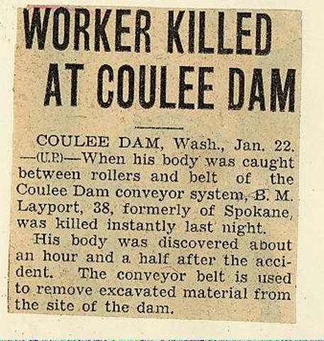 State history. Grand Coulee dam. Accidents. General. 1935-01-22