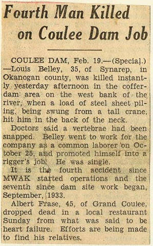 Grand Coulee dam. Accidents. General. 1935-02-19