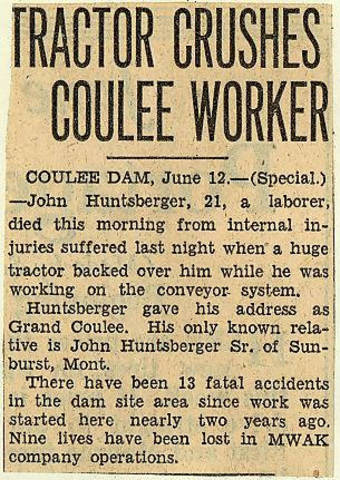 Grand Coulee dam. Accidents. General. 1935-06-12