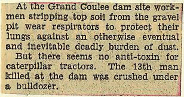 Grand Coulee dam. Accidents. General. 1935-06-16