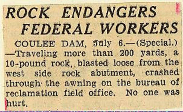 Grand Coulee dam. Accidents. General. 1935-07-06