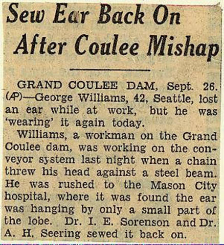Grand Coulee dam. Accidents. General. 1935-09-26