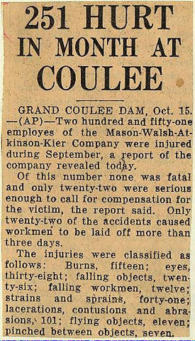 Grand Coulee dam. Accidents. General. 1935-10-16