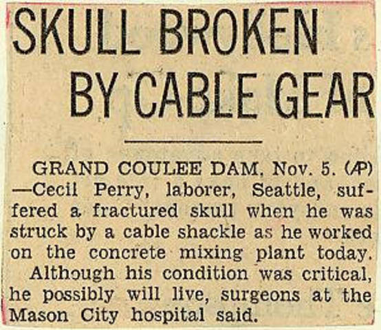 Grand Coulee dam. Accidents. General. 1935-11-06