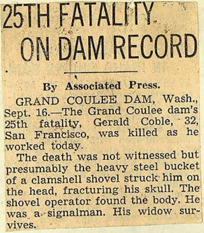 Grand Coulee dam. Accidents. General. 1936-02-25