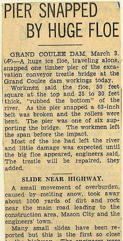 Grand Coulee dam. Accidents. General. 1936-03-04