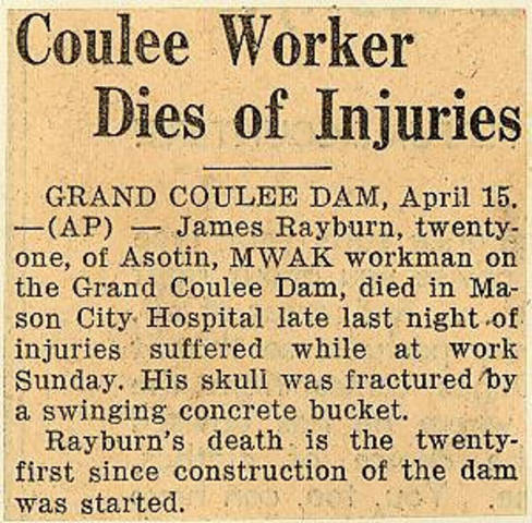 Grand Coulee dam. Accidents. General. 1936-03-07