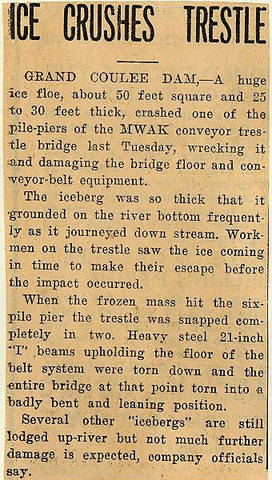 Grand Coulee dam. Accidents. General. 1936-03-13