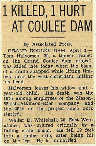 Grand Coulee dam. Accidents. General. 1936-04-04