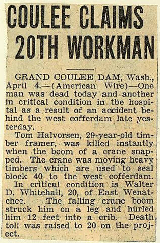 Grand Coulee dam. Accidents. General. 1936-04-06