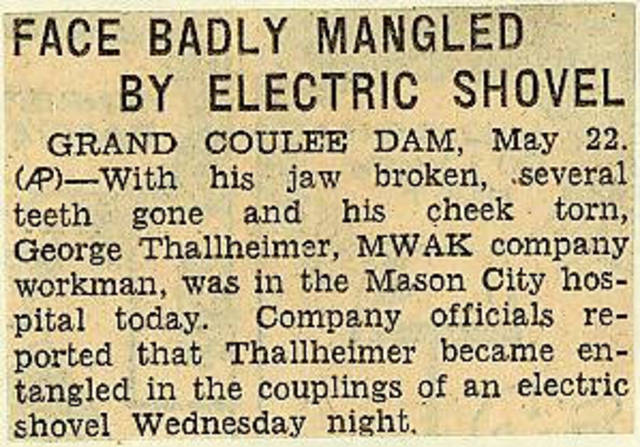 Grand Coulee dam. Accidents. General. 1936-05-23