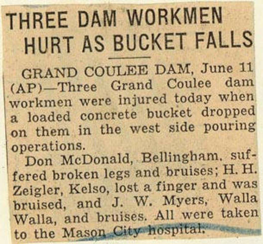 Grand Coulee dam. Accidents. General. 1936-06-12