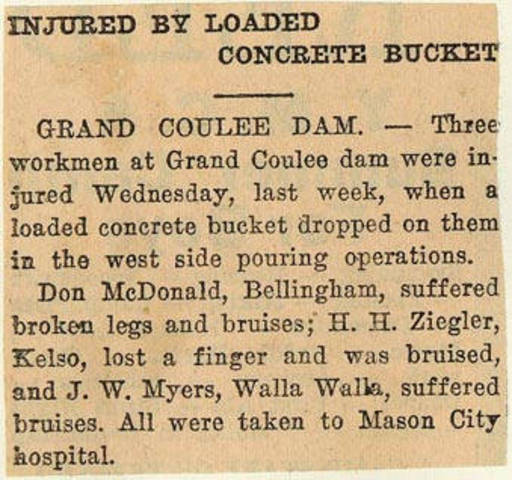 Grand Coulee dam. Accidents. General. 1936-06-17