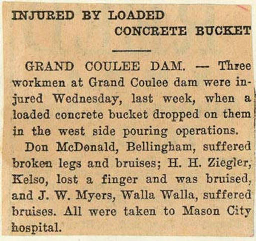 Grand Coulee dam. Accidents. General. 1936-06-19