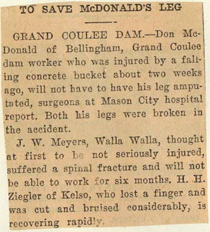 Grand Coulee dam. Accidents. General. 1936-06-26