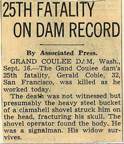 Grand Coulee dam. Accidents. General. 1936-09-17