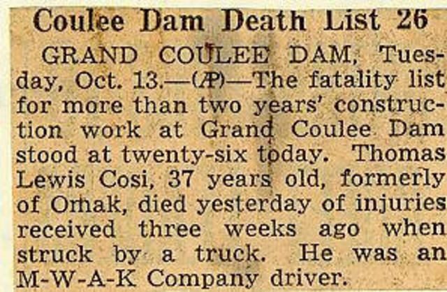 Grand Coulee dam. Accidents. General. 1936-10-13