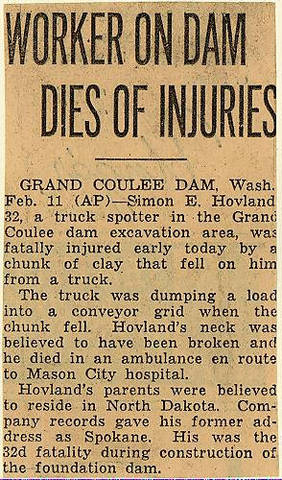 Grand Coulee dam. Accidents. General. 1937-02-12
