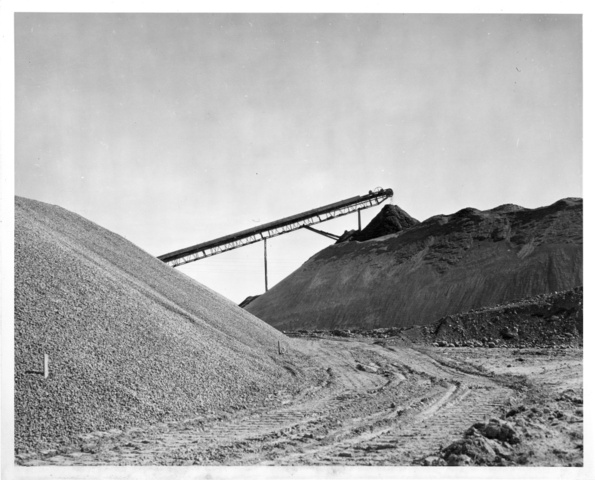 Concrete aggregate stockpiles at J.G Shotwell's Company near Coulee City for South Coulee Dam
