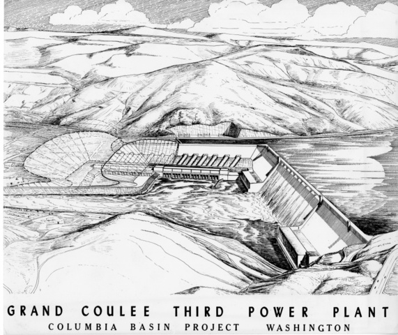 Photograph of sketch of future location of Third Powerplant at Grand Coulee Dam