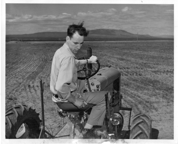 Warren Clifford prepares the land on his 150 acre plot on the Pasco Unit of the Columbia Basin Project