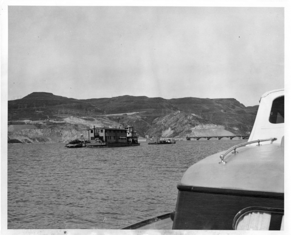 Floating workhouse near Grand Coulee Dam