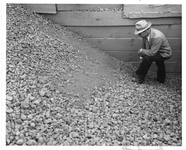 An aggregate stockpile is examined and later to be sorted