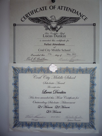 I got Perfect attendance & Honor Roll