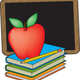 33667 clip art graphic of a red teachers apple on a stack of books by a chalkboard by maria bell