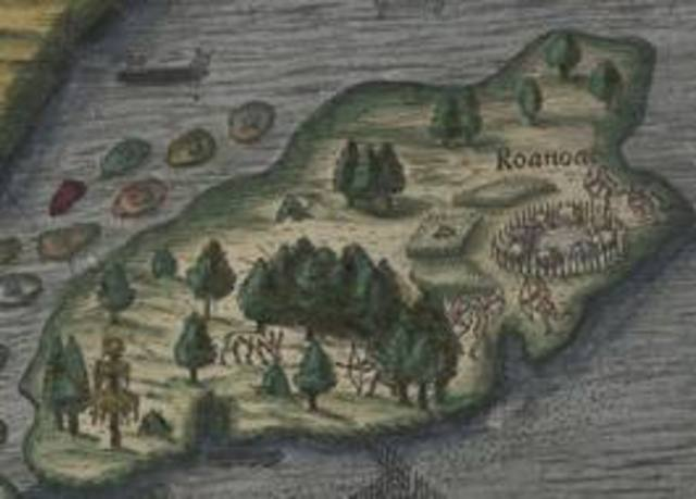 Virginia colony of Roanoke Island established by Walter Raleigh
