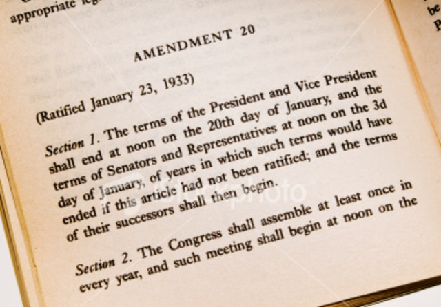 20th Amendment Jan. 20 inauguration