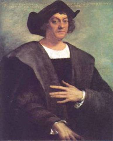 Christopher Columbus sails the ocean.