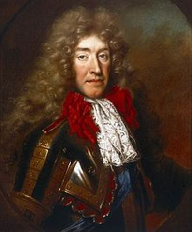 James II becomes king of England, Ireland, and Scotland